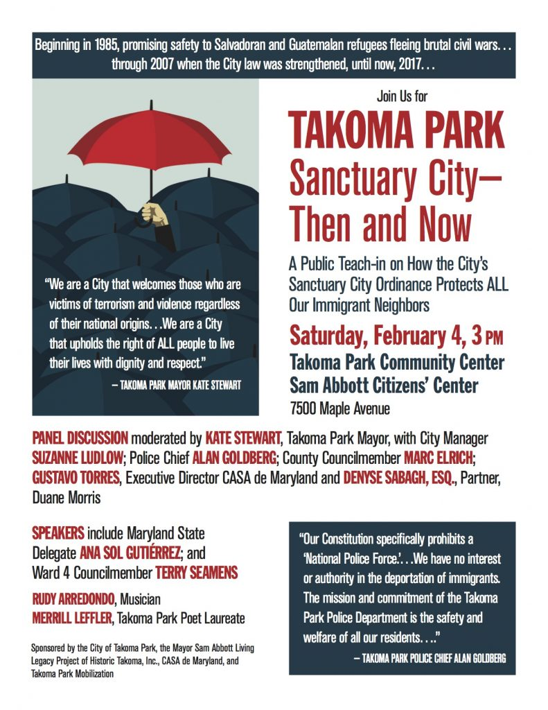 Sanctuary City event flyer